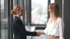 Two businesswoman shaking hands. Profile of two attractive blonde businesswoman shaking hands stock video footage