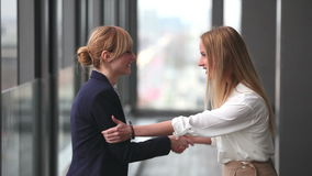 Two businesswoman shaking hands. Profile of two attractive blonde businesswoman shaking hands stock footage