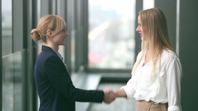 Two businesswoman shaking hands. Profile of two attractive blonde businesswoman shaking hands, graded stock video
