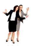 Two businesswoman showing her palms. Stock Image
