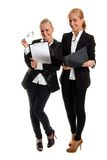 Two businesswomans. On isolated backround with folder,photo in studio Royalty Free Stock Photos