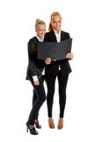 Two businesswomans with folder. Two businesswomans on isolated backround with folder,photo in studio Royalty Free Stock Images
