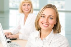 Two businesswomen stock image