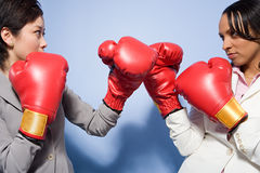 Two businesswomen boxing Royalty Free Stock Photography
