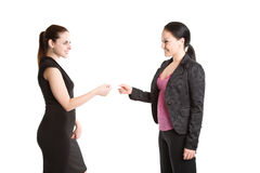 Two businesswomen and business card Stock Photo