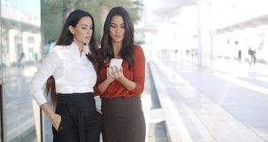 Two businesswomen checking a phone message stock video