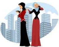 Two businesswomen in city. Vector illustration of a two businesswomen in city royalty free illustration