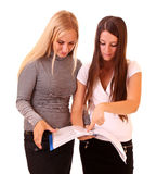 Two businesswomen with documents isolated Royalty Free Stock Photos