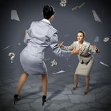 Two businesswomen fighting as sumoist Royalty Free Stock Photography