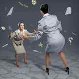 Two businesswomen fighting as sumoist Stock Photography