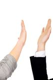 Two businesswomen giving a high five. Royalty Free Stock Images