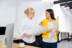 Two businesswomen having meeting in office. Two smiling businesswomen having meeting in office Stock Image