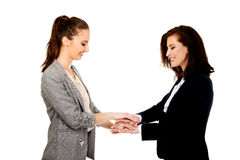 Two businesswomen holding their hands together. Stock Image