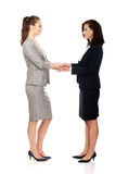 Two businesswomen holding their hands together. Stock Photo