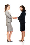 Two businesswomen holding their hands together. Royalty Free Stock Photo