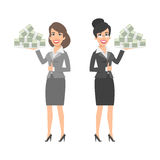 Two businesswomen holding tray with money Stock Photos