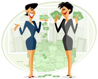 Two businesswomen with money. Vector illustration of a two businesswomen with money Stock Photos