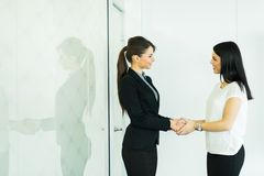 Two businesswomen shakig hands in an office Royalty Free Stock Photos