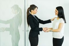 Two businesswomen shakig hands in an office Royalty Free Stock Images