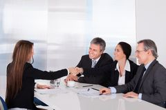 Two businesswomen shaking hand Stock Photo