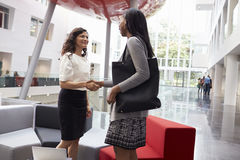 Two Businesswomen Shaking Hands In Lobby Of Modern Office Royalty Free Stock Photo