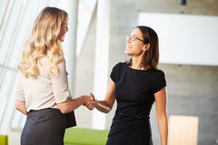 Two Businesswomen Shaking Hands In Modern Office Stock Photo