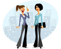 Two businesswomen speaking. Vector illustration of a two businesswomen speaking Royalty Free Stock Image
