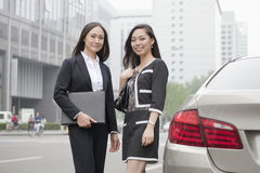 Two Businesswomen Standing On Road Royalty Free Stock Image