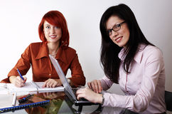 Two businesswomen are working Royalty Free Stock Images