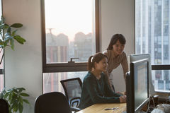 Two Businesswomen Working Together in the Office on the Computer Stock Images