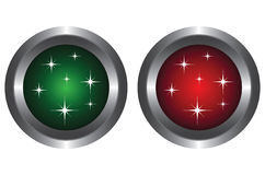 Two buttons with glitter Stock Images