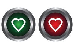 Two buttons with hearts. On a white background Royalty Free Stock Image