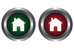 Two buttons with the image of the house Stock Images