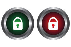 Two buttons with a lock Royalty Free Stock Image