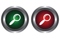 Two buttons with the magnifying glass Stock Photography