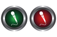 Two buttons with microphone Stock Photo