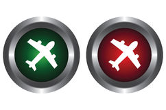 Two buttons with the plane Royalty Free Stock Photography