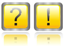 Two buttons with question and answer Stock Photos