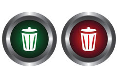 Two buttons with recycle bin Royalty Free Stock Photo