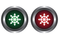 Two buttons with snowflakes Royalty Free Stock Photos