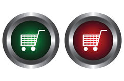 Two buttons with trolley Stock Photo