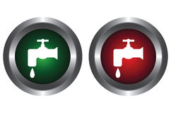 Two buttons with water tap Stock Images