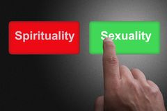 Buttons with written Spirituality and Sexuality and pointing finger, on a gray gradient background. Two Buttons with written Spirituality and Sexuality and stock photo