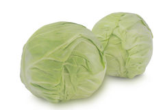 Two cabbage-heads isolated on white background Stock Photo