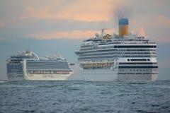 Two cabin cruiser Stock Photo