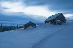 Two cabins in mountain Royalty Free Stock Photo