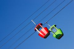 Two cabins ropeway Royalty Free Stock Image