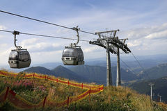 Two Cable Car Cabins On The Top Of Mountain Royalty Free Stock Photography