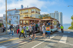 Two Cable Car Lombard street Stock Photo
