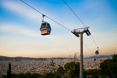 Two cable cars. Barcelona city view, Spain. Cable car, Teleferic de Montjuic Stock Photo